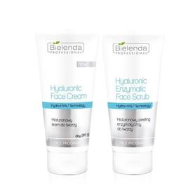 BIELENDA DUET Hialuronowy krem do twarzy 150ml + Hialuronowy peeling enzymatyczny do twarzy 150g